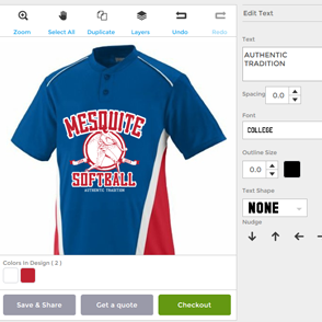Online Designer for Baseball and Softball Jerseys