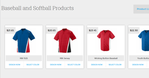 Page for baseball and softball products
